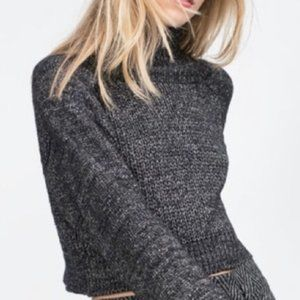 Zara Knit Cropped Turtleneck Sweater